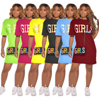 뜨거운 판매 새로운 패션 캐주얼 솔리드 컬러 편지 인쇄 드레스 2021 Womens 짧은 소매 스커트 여름 6 색 라운드 목 사랑스러운 드레스