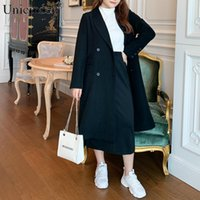 Mulheres Ternos Blazers Unicinder 2021 Mulher Plus Size Girl-Down Collar Wide-cintura Longa Blazer Botão Sólido preto / cinza # 9854