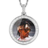 Heißer Verkauf personalisierte Bilder Foto Anhänger Halskette für Frauen Männer Gedächtnis Runde Anhänger Halskette mit Tenniskette 108 U2