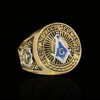 Haute Polonais Argent et Tonalités d'or Masonic Royal Royal Anneaux Mens Mazon Bague en acier inoxydable Anneau de championnat maçonnique