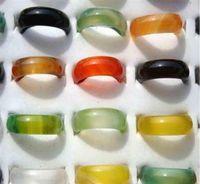 Vacker kvinna multicolored agate jade ring mode smycken blandad jade agate ring charm band smycken