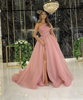Vestidos formales de la tarde elegante 2021 con dubai vestidos formales fiesta vestido de fiesta árabe medio oriente un hombro alto split organza