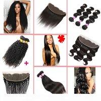 8a paquetes de pelo brasileño con onda frontal del cuerpo, tejidos de pelo humano de pelo rizado rizado rizado y oreja para el cierre frontal del encaje del oído