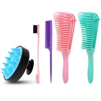 5pcs Detangler Set Spazzola per la spazzola del cuoio capelluto Edge Control Kinky Wavy Flex per 3A a 4C bagnato / secco / lunghi capelli ricci di spessore 210302