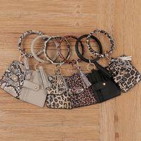39 Style Tassel Carte Sac Bracelet Bracelet Portefeuille Porte-clés Porte-clés Porte-clés Léopard Sac à main en cuir Porte-clés de crédit LLA393