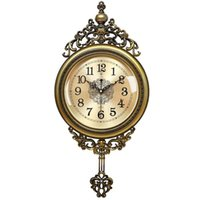 Wall Clocks European Retro Resin Large , 64CM Luxury Glazed Rocking Clock, Mute Carved Clock For Living Room Home Decor