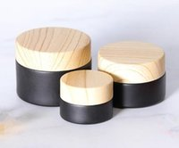 5g small black glass jar Bottles matte with plastic lid cap bamboo wood strain round wax cream cosmetic container 5ml custom