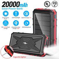 20000Mah Telefono cellulare Solar Powerbank Batteria portatile Batteria wireless Ricarica veloce con funzione di illuminazione di sigarette Produttori Direct Alta qualità