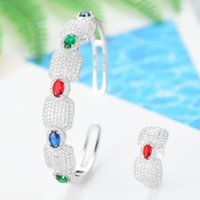 Earrings & Necklace LARRAURI Luxury Cubic Zircon Crystal CZ Jewelry Sets For Women Wedding African Bridal Bangle Ring Set Aretes De Mujer Mo
