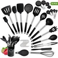 Silikon Pişirme Turner Mutfak Seti 33/14 adet Paslanmaz Çelik Kolu Spatula Mutfak Eşyaları Pişirme Aracı Seti Saklama Kutusu