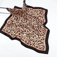 70 cm pañuelo leopardo estampado diadema bufanda pelo para mujeres seda satén cuello bufandas hembra pequeños chales bolsas de lujo bufandas 2020