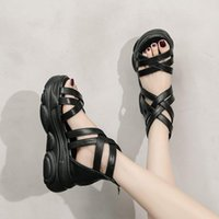 Dress Shoes 2021 Ladies Sandals Female Summer Korean Fashion Casual Thick-soled Roman Style Beach Student