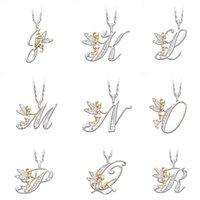 Iced Out Collectores de letras iniciales Mujeres Rhinestone 26 Alfabetos A-Z Ángulo de oro Encanto Colgantes Silver Choker Cadenas para Girls Gifts 1158 B3