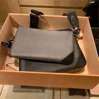 [상자 포함] M69443 트리플 블랙 망 Pochette 트리오 3pcs 메신저 가방 멀티 어깨 크로스 바디 가방 가죽 클러치 토트 여성 디자이너 핸드백 + 동전 지갑 지갑