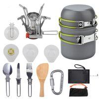 Set de utensilios de cocina para camping al aire libre Portátil Vajilla Senderismo Picnic Mochilero Camping Vajilla Pot Sart Pan Cocinar Set 1-2Perssons