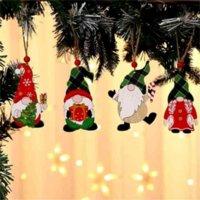 Dekorationen Malen Holz Anhänger Haus Auto Weihnachtsbaum Gesichtslose Alter Mann Rudolph Muster Anhänger Indoor Party Dekoration Verkauf C2998