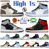 Университет Blue 1 1S Баскетбольные Обувь Мужчины Женщины Кроссовки Патент Бред Гипер королевский Темный Мокха Твист Тень Черный Белый Чикаго Счастливые Зеленые Высокие Мужские Тренеры