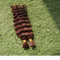 100% Bulk Humano Trança 10-30 polegadas Deep Wave Hair Bulk Trançado 1 Peça 100G Brasileira Trama Bulk Hair Extension