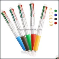 Ballpoint Writing Supplies Business & Industrialballpoint Pens 2Pcs Creative Four In One 0.7Mm Colorf Ink Signature Kawaii Stationery School