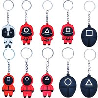 Squid Game Keychain Toys Soldier Spopular Triangle Series Creative Acrylic KeyRing for Women Man Pocket Key Decoration Gift Car Backpack Pendant