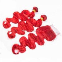 موجة الجسم الأحمر الإنسان لحمة الشعر 3 حزم مع 4x4 إغلاق الدانتيل إغلاق الشعر البرازيلي اللون الأحمر اللون الحرة 4x4 اليد مرتبطة إغلاق