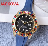 Simple Designer Famous Colorful Big Diamonds Ring Watches Luxury Fashion Men And Women Steel Band Quartz Movement Clock Gold Silver Leisure Rubber Wristwatch
