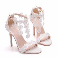 Sandals Women Ankle Strap White Lace Flowers Pearl Tassel Super Stiletto High Heels Slender Bridal Wedding Shoes