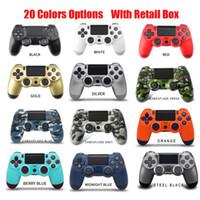 20 Renk Kablosuz Bluetooth Gamepad Joystick Kontrol oyunu Konsol Aksesuar USB Kolu PS4 PC Denetleyicisi için Hiçbir Logo Perakende Kutusu Ile