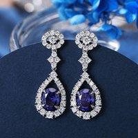 HBP Fashion Luxury New Pure Silver S925 Simple Personalidad Azul Tansang Stone Pendientes más vendidos de las mujeres
