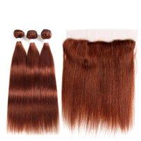 Human Hair Bulks Brown Auburn Bundles With Frontal 13x4 SOKU 3 4PCS Brazilian Straight Weave Non-Remy