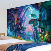 NUEVO Tapicería de champiñones Inicio Pared Colgando Arte Decoración Sala Sala de estar Dormitorio Contexto Decoración 3D Fairytale Fantasy Tapices EWE7507