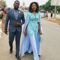 Sky Blue Evening Dress Jumpsuit with Wrap Cape Lace Appliqued Plus Size Women Outfit Prom Dresses Pant Suit Robe de mariée