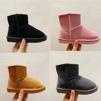 4 colors Kids Boots shoes Real Australia Genuine Leather infant toddlers Snow Boot Solid color Winter keep warm Girls Footwear