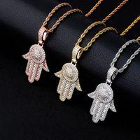 Factory Arabian Fatima hand religious pendant full of zircon personality hip hop Necklace Gold Australia jewelry