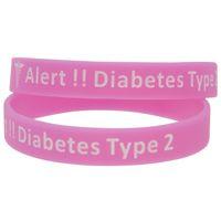 10pcs alerta tipo 2 diabetes silicone pulseira de borracha para lembrete diário 5 cores