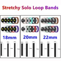 18mm 20mm 22mm Stretchy Solo Loop Silicone Straps Sports Band Elastic Replacement Wristband For Samsung Watch 41mm 45mm Active2 S2 S3 Huawei Watch3 Pro