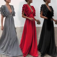 Maternity Dresses Chic Women Ruffles Long Dress Birthday Party V-neck Summer Clothes Beach Outfit Lady Evening Ball Gowns Maxi Vestidos