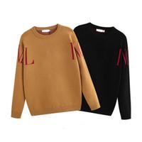 Top lã pulôver inverno quente malha camisola pulôver jacquard malha carta bordado camisa camisa casaco