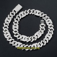 Evernity New 3: 1 хип-хоп CZ Diamond Inlaid Ожерелье высокого класса Flip CLAP 15 мм широкий бар Кубинское цепочковое мужское ожерелье со льдом мужской браслет