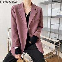 Abiti da donna Blazers High Street Fashion Womens Style Coreano Chic Casual Ladies Blazer Donna Ufficio Sciolto Autunno Giacche Pure Viola