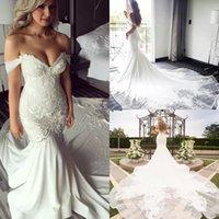 Modest Mermaid Wedding Dresses Bridal Gown 2022 Chapel Train Lace Applique Beaded Off the Shoulder Covered Buttons Back Custom Made Plus Size vestido de novia