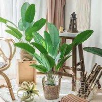 Guirnaldas de flores decorativas 80 cm 18 hoja de hoja grande hoja de plátano artificial verde de palmera de palmera verde artesanía interior y al aire libre Paisajismo HOM