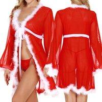Bras Sets Sexy Lingerie Porno Women Lenceria Erotica Mujer Sexi Christmas Plush Bath Robe Long Sleeve Underwear CD 689