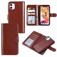 apple phone cases leather wallet case magnetic 2in1 detachable cover for iphone 12 pro max 11 xs xr x 7 8 plus tickstand shockproof wrist strap removable filp shell