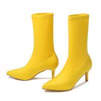 Chaussures habillées Botas Femininas de Salto 6cm, Calçado Feminino Stiletto Com Elástico E Ponta Fina, Outono Hurdr