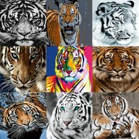 Tiger Oil Painting FAI DA TE Paint by Number Canvas Pittura Animale Acrilico Vernice Decorazione Unico regalo per adulti Dono regalo