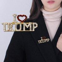 나는 트럼프 브로치 핀 크리스탈 라인 석 편지 정치 브로치 트럼프 지지자 데님 코트 드레스 쥬얼리 선물