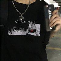 Япония аниме токио Гул в монетаре Kaneki KEN мультфильм печати Свободная футболка Harajuku повседневная панк классная уличная одежда женская футболка Tee C0220