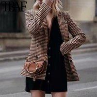 Women's Suits & Blazers TRAF Women Fashion Retro Double Breasted Plaid Blazer Office Lady Long Sleeve Slim OL 2021 Casual Jacket Female