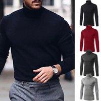 Мода Мужчины Тепловые хлопковые свитера вязаные рулоны шеи Скиввые водолазки для туфлец кофты стрейч Slim Fit рубашка сплошные повседневные пуловеры